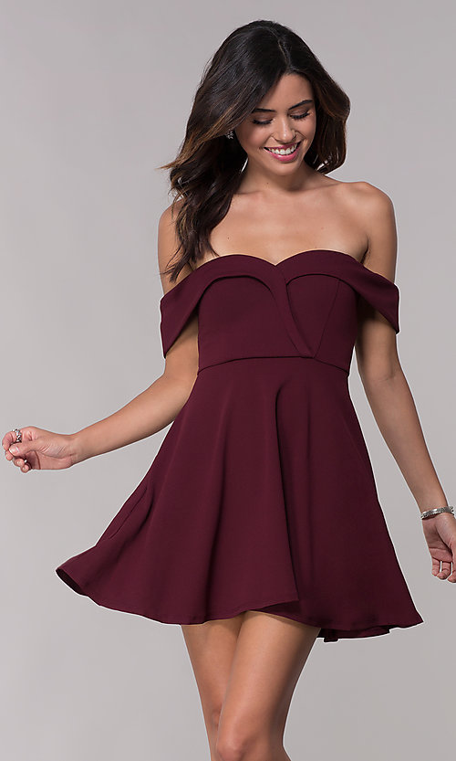 2139dc436a3 Image of short wine red jersey off-the-shoulder party dress. Style: