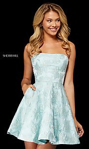 Image of Sherri Hill short strapless brocade homecoming dress. Style: SH-52337 Detail Image 1