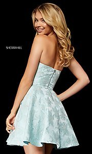 Image of Sherri Hill short strapless brocade homecoming dress. Style: SH-52337 Detail Image 2
