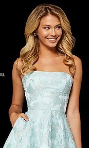 Image of Sherri Hill short strapless brocade homecoming dress. Style: SH-52337 Detail Image 3