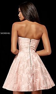 Image of Sherri Hill short strapless brocade homecoming dress. Style: SH-52337 Back Image