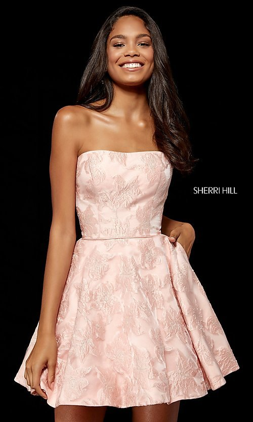 Image of Sherri Hill short strapless brocade homecoming dress. Style: SH-52337 Front Image