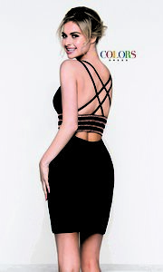 Image of open-back sleeveless fitted holiday dress. Style: CD-1979 Back Image