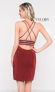 Image of open-back sleeveless fitted holiday dress. Style: CD-1979 Detail Image 3
