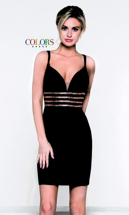 Image of open-back sleeveless fitted holiday dress. Style: CD-1979 Front Image