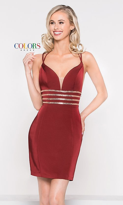Image of open-back sleeveless fitted holiday dress. Style: CD-1979 Detail Image 2
