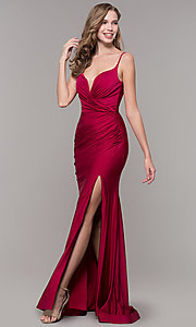 Image of v-neck ruched long formal v-back evening dress. Style: CD-2032 Detail Image 4