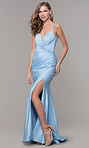 Image of v-neck ruched long formal v-back evening dress. Style: CD-2032 Detail Image 7
