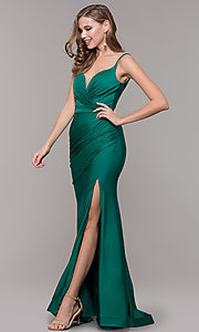 Image of v-neck ruched long formal v-back evening dress. Style: CD-2032 Detail Image 6