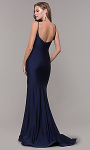 Image of v-neck ruched long formal v-back evening dress. Style: CD-2032 Back Image