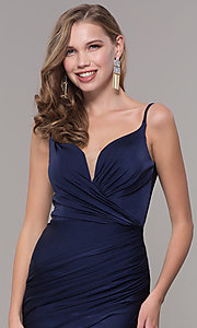 Image of v-neck ruched long formal v-back evening dress. Style: CD-2032 Detail Image 1