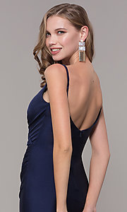 Image of v-neck ruched long formal v-back evening dress. Style: CD-2032 Detail Image 2