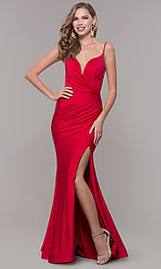 Image of v-neck ruched long formal v-back evening dress. Style: CD-2032 Detail Image 5
