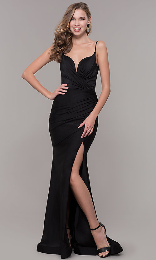 Image of v-neck ruched long formal v-back evening dress. Style: CD-2032 Detail Image 3
