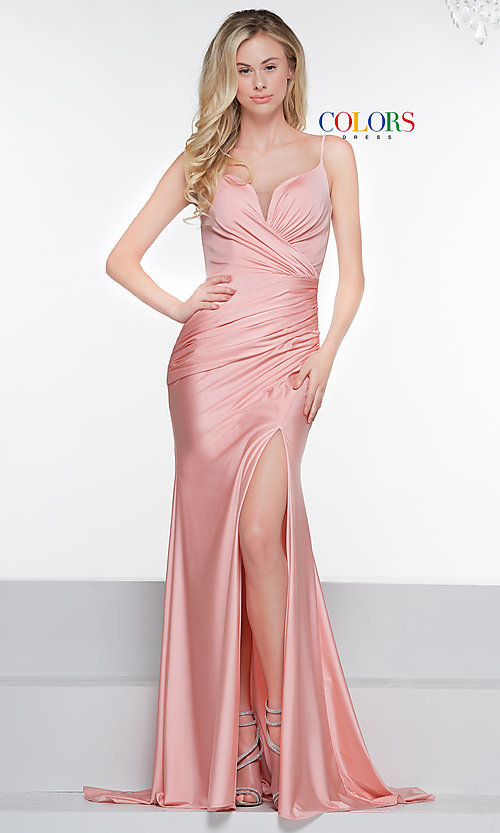 Image of v-neck ruched long formal v-back evening dress. Style: CD-2032 Front Image
