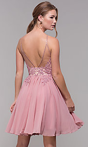 Image of mauve embroidered-bodice short homecoming dress. Style: DJ-A7142 Back Image