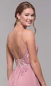 Image of mauve embroidered-bodice short homecoming dress. Style: DJ-A7142 Detail Image 2