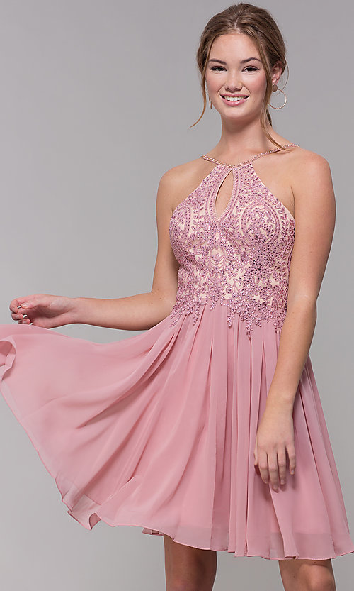 Image of mauve embroidered-bodice short homecoming dress. Style: DJ-A7142 Front Image