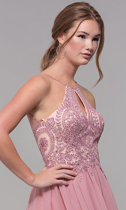 Image of mauve embroidered-bodice short homecoming dress. Style: DJ-A7142 Detail Image 1