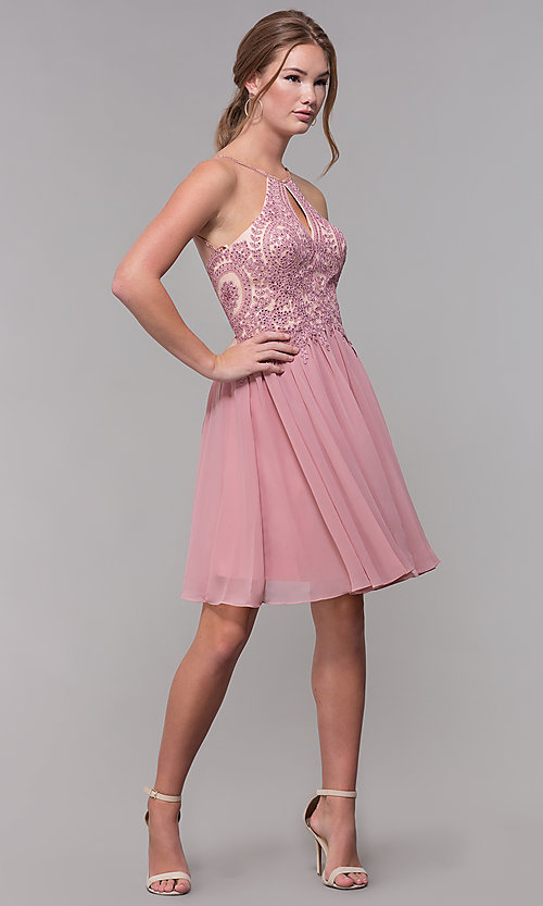 Image of mauve embroidered-bodice short homecoming dress. Style: DJ-A7142 Detail Image 3