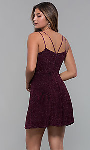 Image of short glitter-spandex party dress in raisin red. Style: EM-FLU-3818-568 Back Image