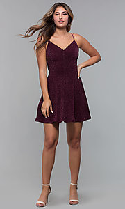 Image of short glitter-spandex party dress in raisin red. Style: EM-FLU-3818-568 Detail Image 3