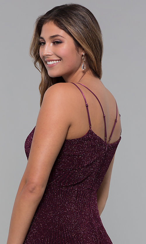 Image of short glitter-spandex party dress in raisin red. Style: EM-FLU-3818-568 Detail Image 2