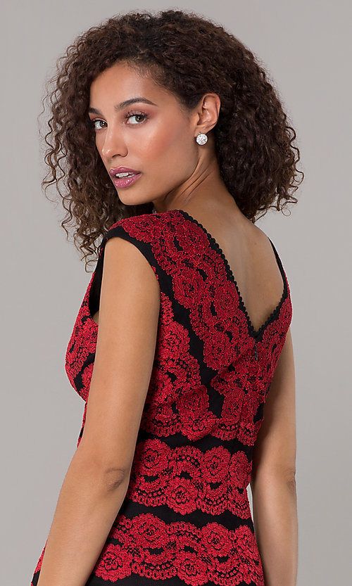 Knee Length Black And Red Lace Wedding Guest Dress,Buy Wedding Dresses Online Australia