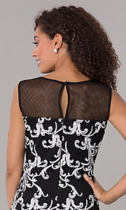 Image of sheer-yoke short black and white wedding-guest dress. Style: SD-S289540 Detail Image 2