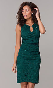 Image of hunter green short sequin-lace wedding-guest dress. Style: SD-S286172 Front Image