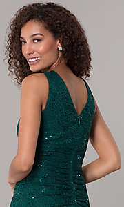 Image of hunter green short sequin-lace wedding-guest dress. Style: SD-S286172 Detail Image 2