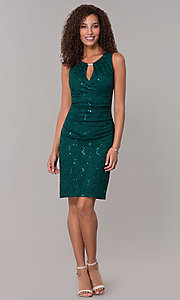 Image of hunter green short sequin-lace wedding-guest dress. Style: SD-S286172 Detail Image 3