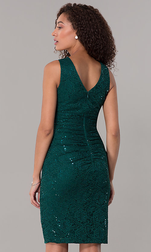 Image of hunter green short sequin-lace wedding-guest dress. Style: SD-S286172 Back Image