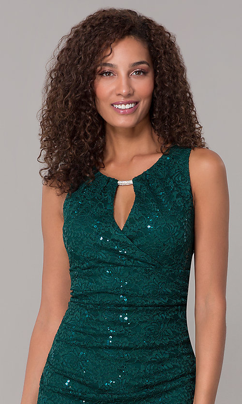Image of hunter green short sequin-lace wedding-guest dress. Style: SD-S286172 Detail Image 1