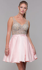 Image of sheer-beaded-bodice short homecoming dress. Style: DQ-3092 Detail Image 2