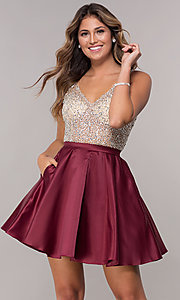 Image of sheer-beaded-bodice short homecoming dress. Style: DQ-3092 Front Image