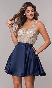 Image of sheer-beaded-bodice short homecoming dress. Style: DQ-3092 Detail Image 1
