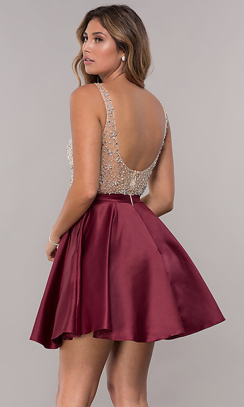 Image of sheer-beaded-bodice short homecoming dress. Style: DQ-3092 Back Image