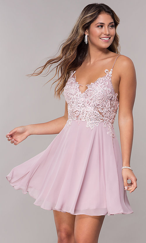 e0da9225ca Image of lace-applique mauve pink short homecoming dress. Style  ZG-PL