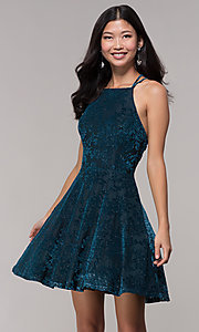 Image of caged-back glitter-velvet short holiday party dress. Style: CT-7857SC7AT3 Front Image