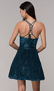 Image of caged-back glitter-velvet short holiday party dress. Style: CT-7857SC7AT3 Back Image