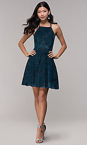 Image of caged-back glitter-velvet short holiday party dress. Style: CT-7857SC7AT3 Detail Image 3