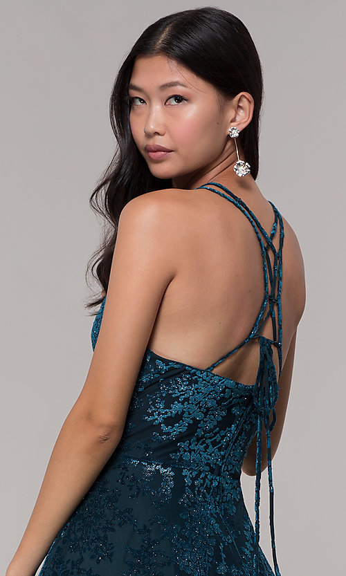 Image of caged-back glitter-velvet short holiday party dress. Style: CT-7857SC7AT3 Detail Image 2