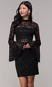 Image of short lace holiday party dress with bell sleeves. Style: CT-8004SH9AT3 Front Image