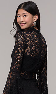 Image of short lace holiday party dress with bell sleeves. Style: CT-8004SH9AT3 Detail Image 2