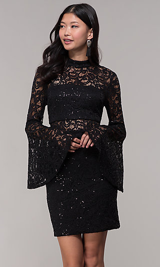 Holiday Party Short Lace Bell Sleeve Dress