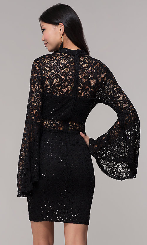 Image of short lace holiday party dress with bell sleeves. Style: CT-8004SH9AT3 Back Image