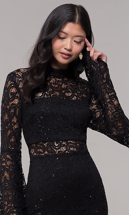 Image of short lace holiday party dress with bell sleeves. Style: CT-8004SH9AT3 Detail Image 1