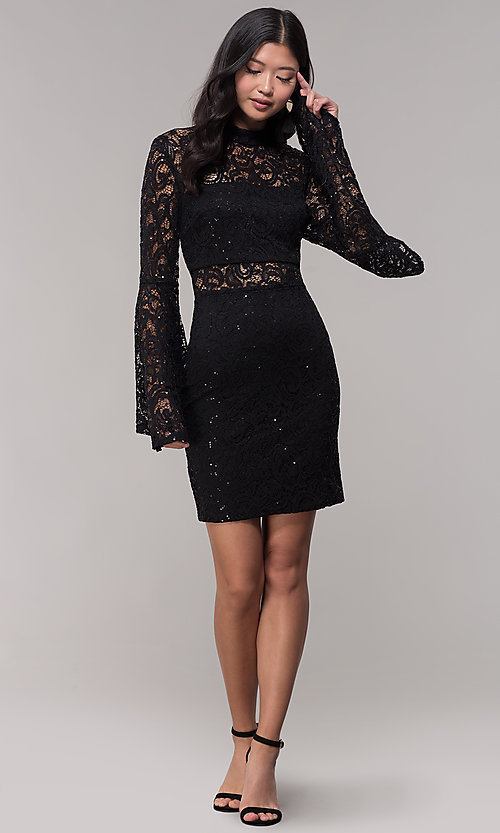 Image of short lace holiday party dress with bell sleeves. Style: CT-8004SH9AT3 Detail Image 3