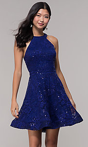 Image of sequin-lace high-neck short holiday party dress. Style: CT-3592TM8AT3 Front Image